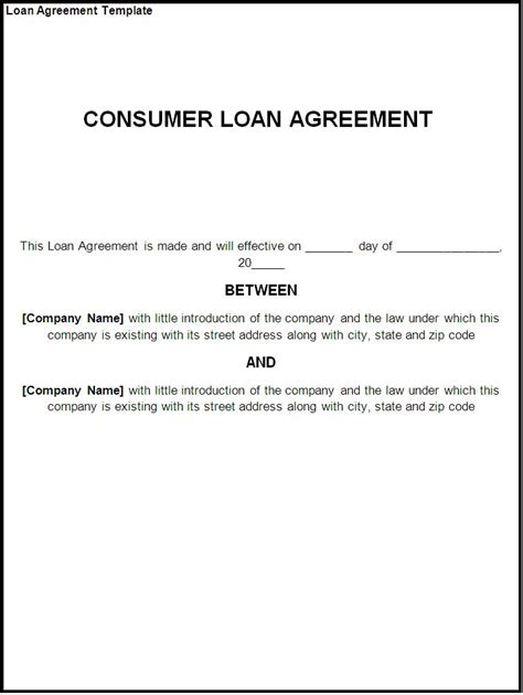 Loan Agreement Letter Exle Loan Agreement Template Free Formats Excel Word