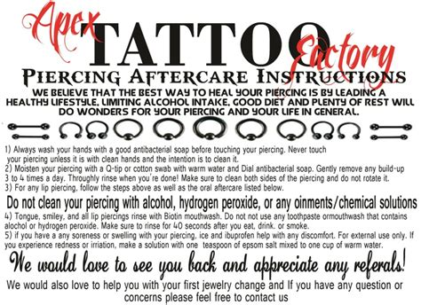 tattoo aftercare sheet aftercare sheets