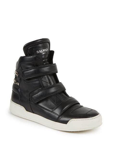 balmain mens sneakers balmain zip detail leather high top sneakers in black for