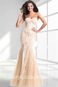 Charming mermaid sweetheart neckline long champagne tulle lace beaded