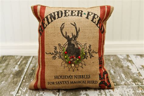 reindeer feed burlap pillow cover by monmelldesigns