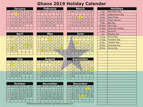calendar  holidays  ghana calendar template printable