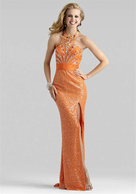 2014 Clarisse Outrageous Orange Halter Beaded Prom Gown 2386   Promgirl.net