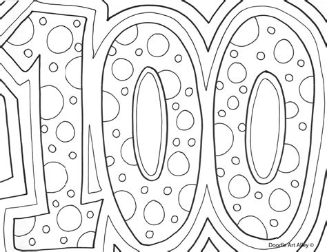 100th Day Of School Celebration Classroom Doodles 100 Coloring Pages