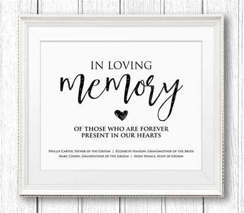 in loving memory templates signs posters minty paperie