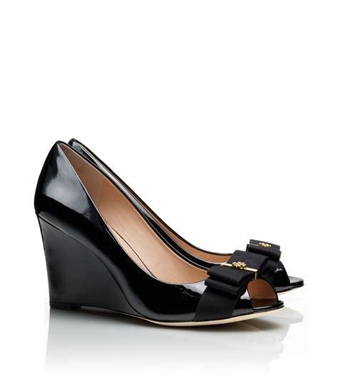 Murah Burch Trudy Wedges lyst burch trudy patent open toe high wedge in black