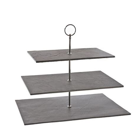 etagere eckig three tier black square slate cake stand buy 3 tier cake
