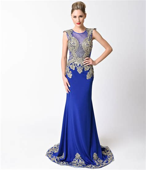 Longdress Cap royal blue gold embellished cap sleeve dress unique
