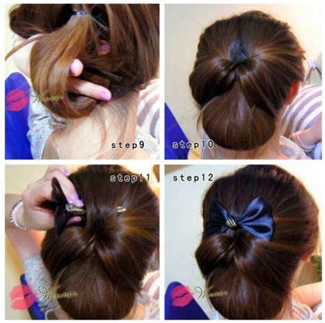 tutorial sanggul modern rambut sendiri demikian lah foto cara menata rambut wanita ala korea