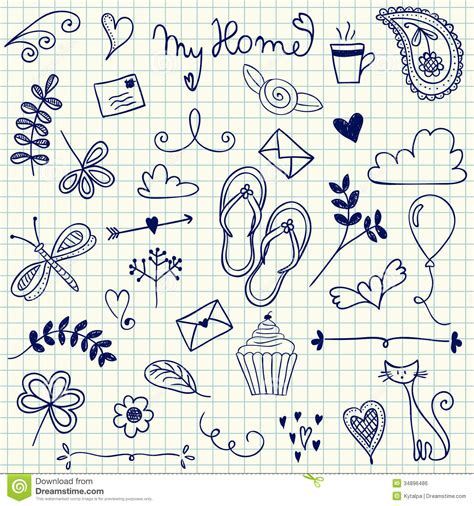 pen doodle um my home doodles royalty free stock image image 34896486