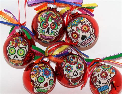 free day of the dead christmas ornament ball sugar skull