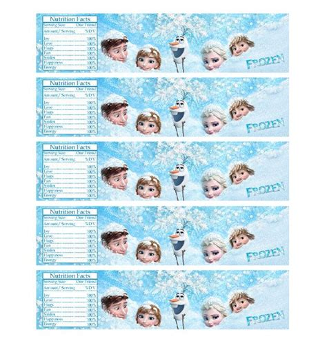 printable stickers frozen digital frozen printable birthday party water bottle label