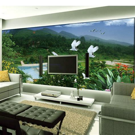 big sofa landscape european tv backdrop living room sofa large mural wallpape