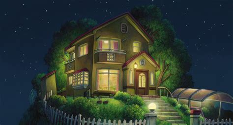 anime house house from the movie ponyo ghibli anime background