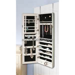 mirrored jewelry armoire cabinet storage wall mount hang
