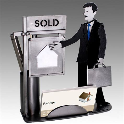 Whimsical Male Real Estate Agent Metal Business Card Whimsical Desk Accessories