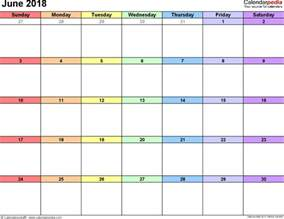 2018 Calendar For June June 2018 Calendars For Word Excel Pdf