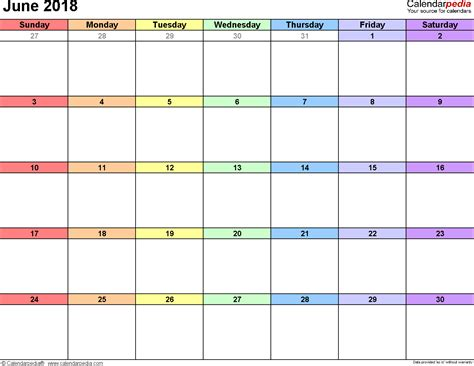 2018 Calendar June June 2018 Calendars For Word Excel Pdf