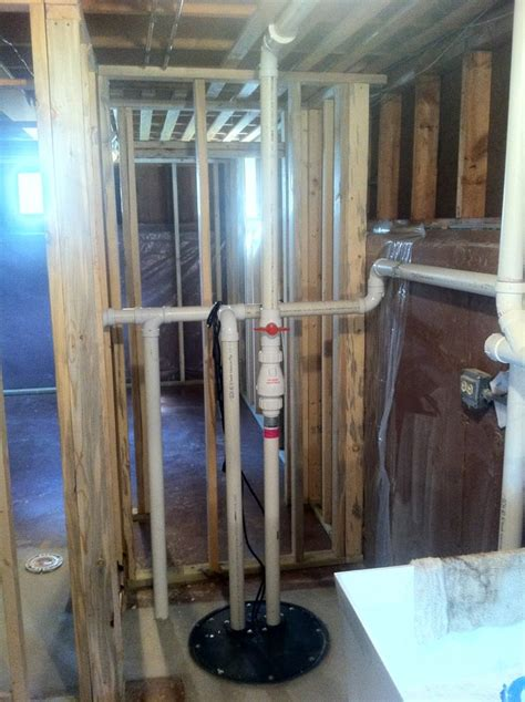 basement bathroom with ejector sewage ejector vent