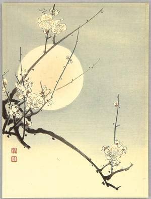 cherry blossom grasses moon and plum blossom painting koho plum and the moon artelino ukiyo e search