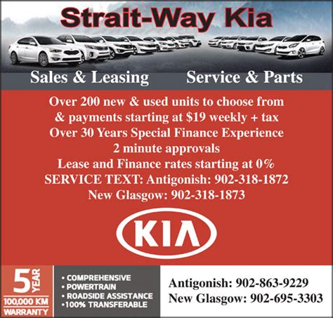Strait Way Kia New Glasgow Strait Way Kia Opening Hours 2670 Brierly Brook Rd