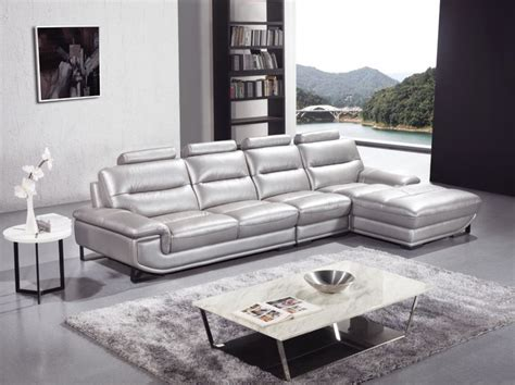 silver living room furniture silver sectional sofa in high quality leather modern