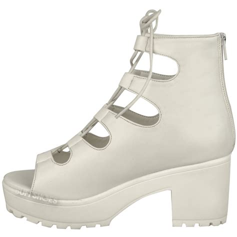 womens chunky mid heel platform lace up cut out