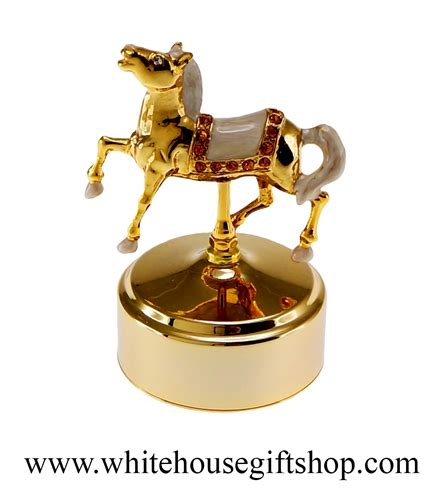 white horse house music gold carousel horse music box with swarovski 194 174 crystals