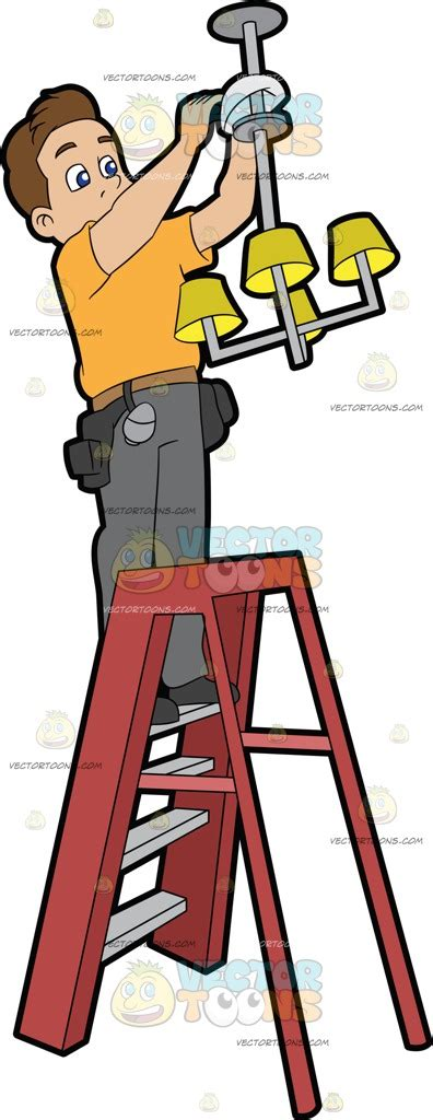 Installing A Light Fixture An Electrician Installing A Ceiling Light Fixture Cartoon