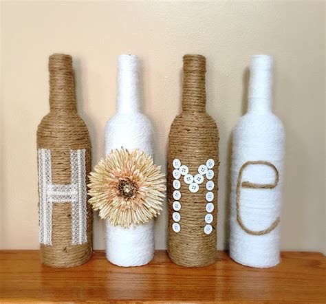 Home Decor With Wine Bottles | twine wrapped wine bottles rustic home decor by