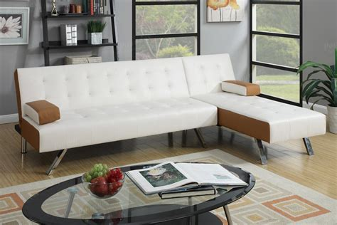 white sectional sofa bed poundex nit f7887 white leather sectional sofa bed