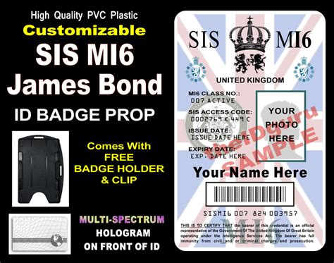 mi6 id card template bond sis mi6 id abzeichen card prop custom