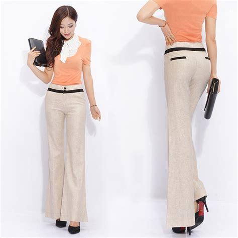 Linen China Koran top quality breathable linen korea boot cut flare pant nowsel