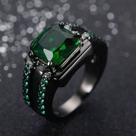 s emerald ring fashion sapphire jewelry 10kt black