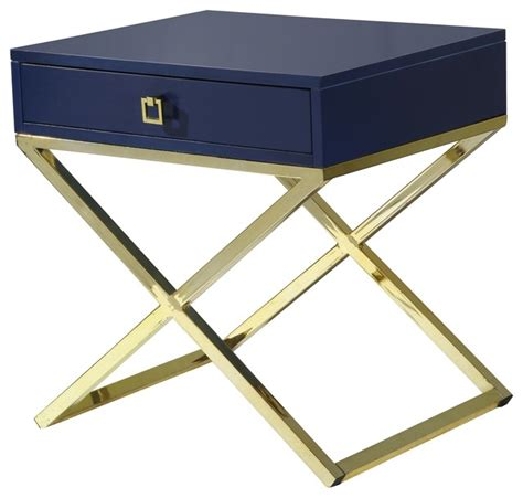 navy blue accent table bogart lacquer finish x metal leg side table 24 quot x20 quot x25