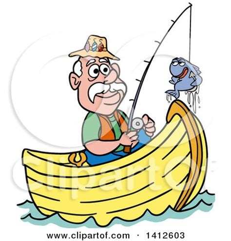 talking boats cartoon clipart of a cartoon caucasian man fishing in a boat and