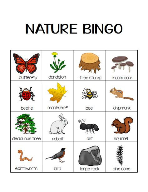 printable children s lotto games nature bingo printable activity take a hike with your