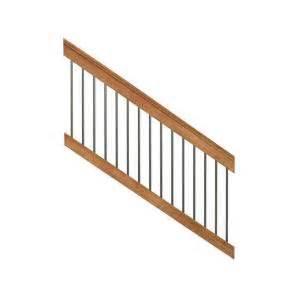home depot deck railing kit deckorail pressure treated 6 ft cedar tone stair deck