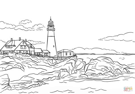 lighthouse coloring pages portland lighthouse maine coloring page free printable