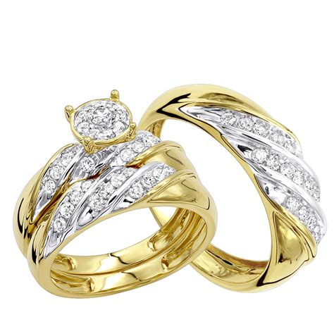 Wedding Bands Trio by Affordable 10k Gold Engagement Ring Wedding Band
