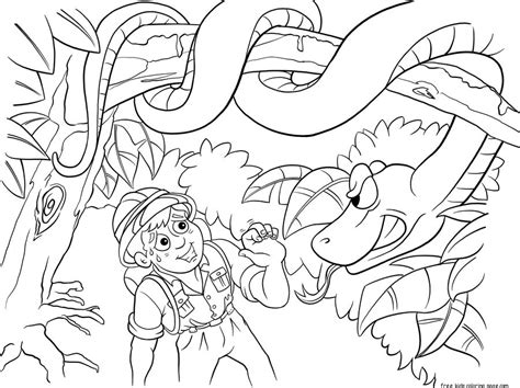 printable coloring pages jungle printable jungle snake and boy coloring pages for kidsfree