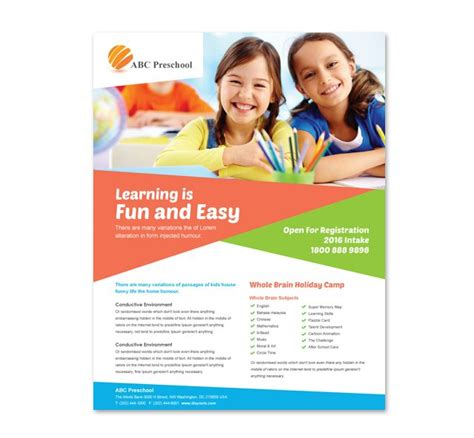 educational brochure templates preschool education flyer template http www dlayouts