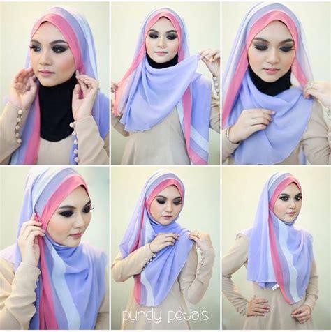 tutorial jilbab segi 4 dua warna tutorial hijab dua kerudung segi empat cara memakai