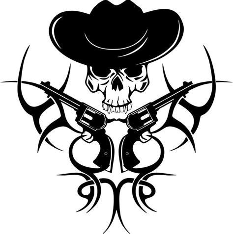 Kaos Rock Stencil tribal cowboy skull gun western rodeo car truck window