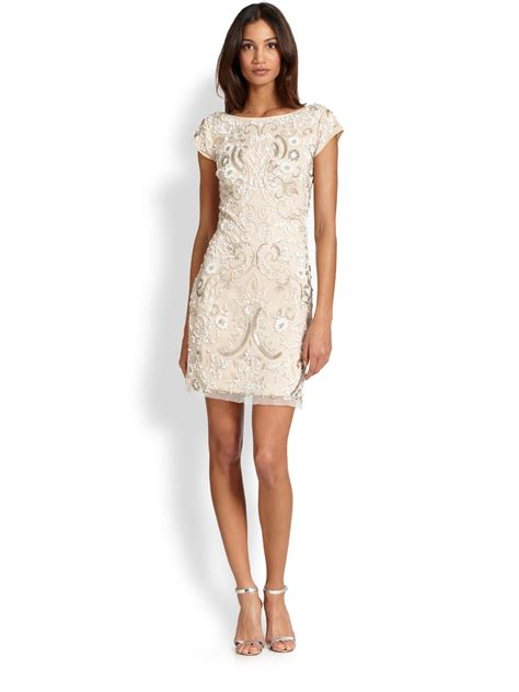 beaded cocktail dress lyst aidan mattox beaded cocktail sheath dress in
