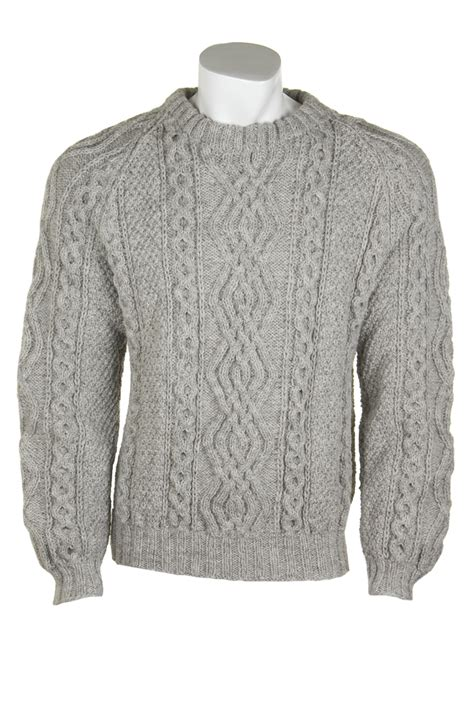 Handmade Knitted Sweaters - gents mens knitted luxury aran sweater ben more by