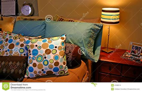 colorful bed pillows colorful pillows on bed stock images image 4188514