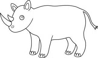 animal outlines colorable rhino design free clip