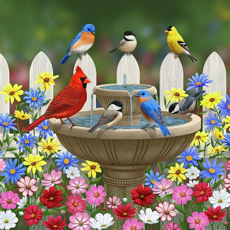 colors of spring the colors of spring bird fountain in flower garden