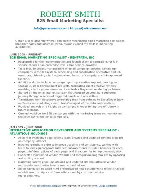 Email Marketing Specialist Sle Resume by Email Marketing Specialist Resume Sles Qwikresume